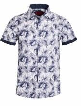 Bronxton Short Sleeve Leaf Large Print Button-Up Shirt