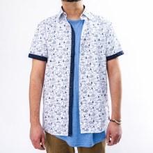 Bronxton Short Sleeve Blue Fishing Print Button-Up Shirt