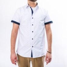 Bronxton Short Sleeve Double Blue Bar Print Button-Up Shirt