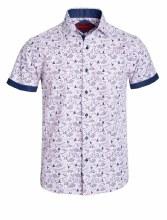 Bronxton Short Sleeve Purple Fishing Print Button-Up Shirt