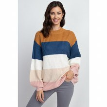 COLORBLOCK PULLOVER BALLOON SLEEVE S/M
