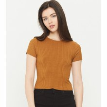 BROWN CRANDON RIBBED CROP TOP