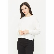 Long-sleeve French Terry Crew-neck Crop Top