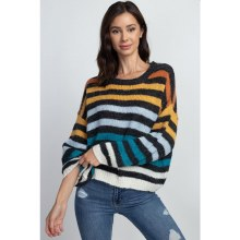 MULTI-COLORED SOFT STRIPE SWEATER M/L