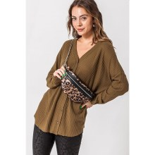 DEEP OLIVE OVERSIZED BUTTON-DOWN FLEECE CARDIGAN M