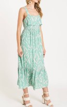 Floral Print Tie Back Ruffled Maxi Dress
