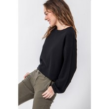 BLACK ROUND NECK BALLOON SLEEVE SWEATER L