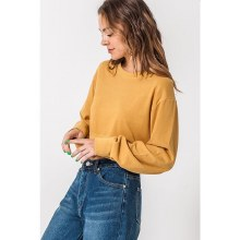 MUSTARD CROPPED LONG SLEEVE CR