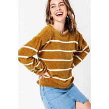 MUSTARD SOFT STRIPE BALLOON SWEATER S