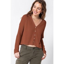 HYFVE BROWN FRONT BUTTON LONG SLEEVE CROPPED CARDIGAN