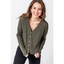 HYFVE OLIVE FRONT BUTTON LONG SLEEVE CROPPED CARDIGAN