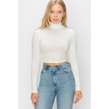 OFF WHITE HIGH NECK LONG SLEEVE CROP TOP S