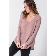 Dusty Pink V Neck Long Sleeve Round Hem Top