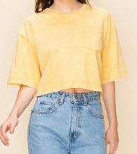 1/2-sleeve Drop-shoulder Boxy-fit Crop Top