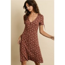 FLORAL KNOTTED-SLEEVE DRESS
