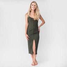 Ribbed-knit Scoop-neck Midi Dress