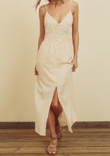 Lace Button Midi Dress
