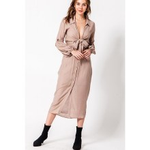 Taupe Deep V Tie Front Frock Dress