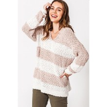 Taupe Wide Stripe Pullover Knit Sweater