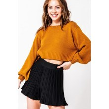 Camel Balloon Sleeve Crop Sweater