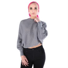 Grey Ribbed Dolman Sleeve Sweater