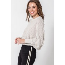 Oatmeal Ribbed Dolman Balloon Sleeve