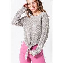 Light Gray Front Tie Sweater