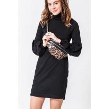 BLACK BALLOON SLEEVES SHORT DRESS M