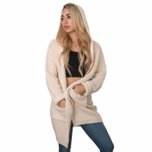 HYFVE SAND HOODED OPEN CARDIGAN