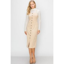 BEIGE BUTTON-DOWN PENCIL DRESS S