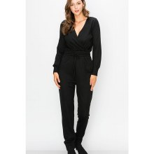 BLACK LONG SLEEVE PEPLUM JUMPER WITH FRONT TIE M
