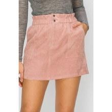 Mauve Pocketed Corduroy Mini Skirt