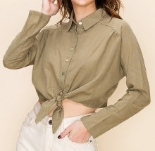 Long-sleeve Button-down Tie-front Collared Knit Blouse