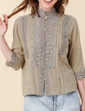 3/4-sleeve Button-down Pleated Blouse w/ Crocheted Detail