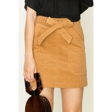 Camel Coduroy Skirt With Waist Tie