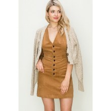 HYFVE CAMEL DOUBLE BREASTED CORDUROY PINAFORE DRESS L