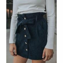 Navy Paperbag Waist Tie Corduroy Skirt