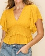 V Neck Ruffle Top