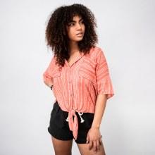 Short-sleeve Button-down Tie-front Aztec Print Blouse
