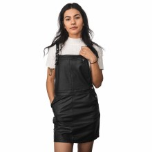 EMORY PU LEATHER OVERALL DRESS