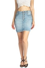 KC Button-fly Denim Mini Skirt