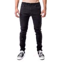 KAYDEN K BLACK DESTROYED SKINNY TWILL PANTS 30