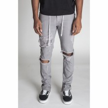 KAYDEN K GREY DISTRESSED ANKLE ZIP PANTS 30