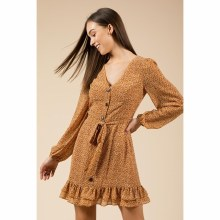 MUSTARD FLORAL LONG SLEEVE FRONT-BUTTONED DRESS S