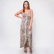 Essue Cream Snakeskin Maxi Dress