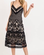 LUSH CAMI LACE MIDI DRESS
