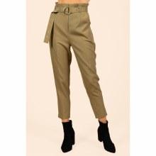 Olive Belted Paperbag Pant S