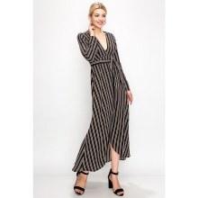 Black/White Pinstripe Long Sleeve Dress