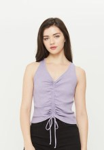 Ribbed Racerback Runched Detail Tank