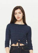 3/4-sleeve Round-neck Crop Top w/ Front-knot Detail